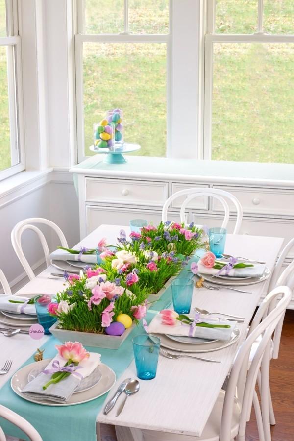 tischdeko ostern festliche farben esstisch aufpeppen