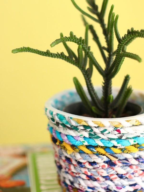 vase für zimmerpflanzen basteln nähen aus stoffresten