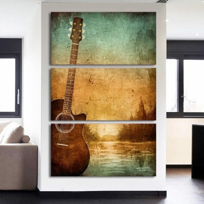 wandpaneele wanddekoration raumakustik verbessern gitare motive
