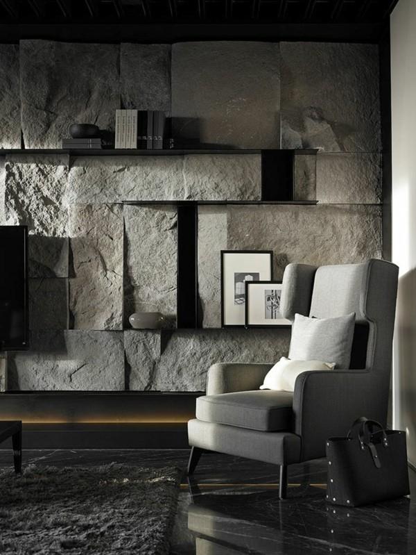weiß und grau steinwände inneneinrichtung ideen