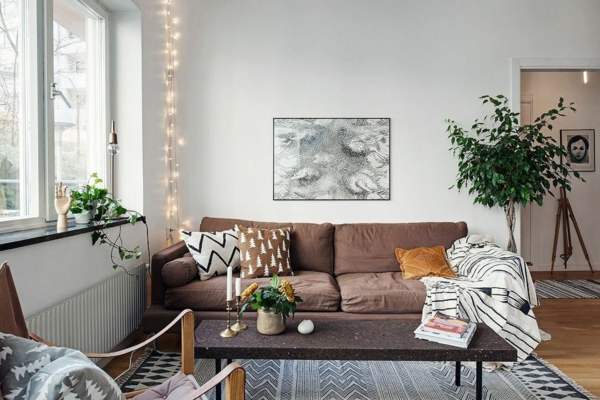 wohnzimmer dekoideen mit lichterketten