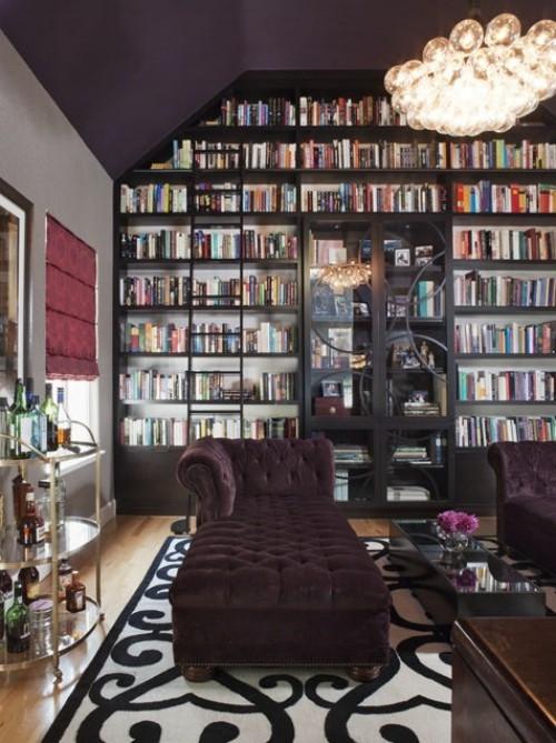 wohnzimmer teppich schwarz weiße muster mit bibliothek