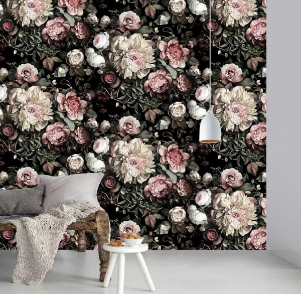 wunderschöne wanddeko ideen dark floral tapete von ellie cashman