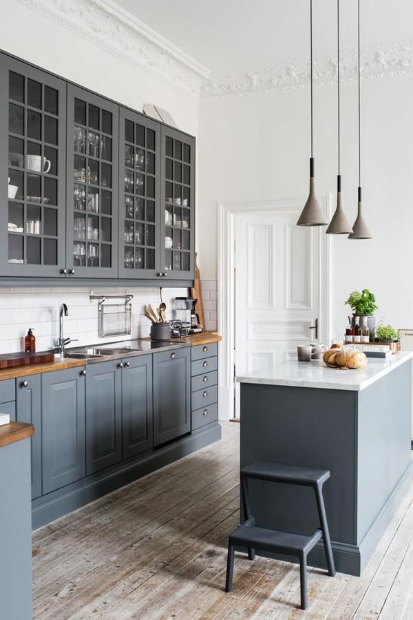 zimmer einrichten dielenboden funktionale kücheninsel
