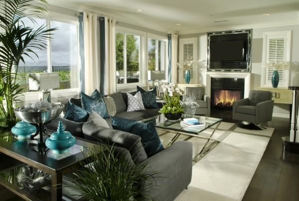 zimmer einrichten frisches wohnzimmer viele pflanzen graue möbel