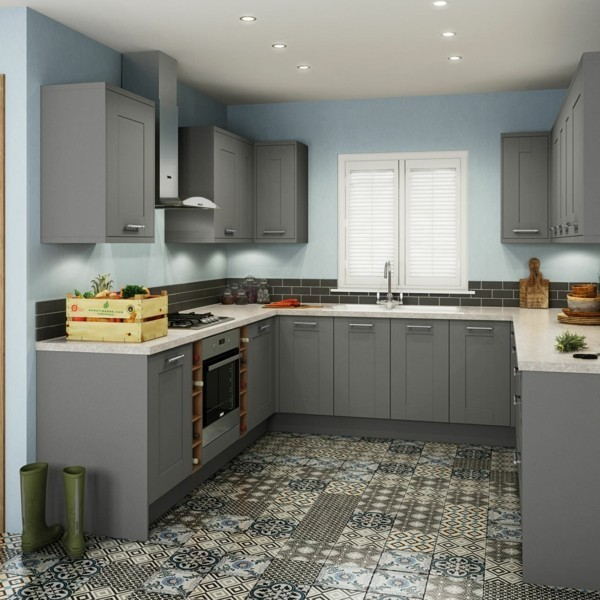 zimmer einrichten graue küchenfronten farbiger boden