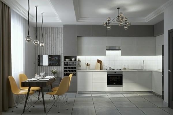 zimmer einrichten kombination weiß grau küchenmöbel essbereich