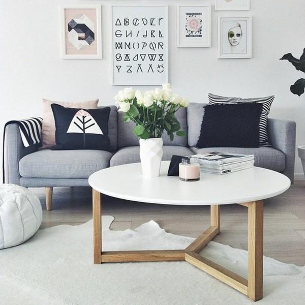 zimmer einrichten skandinavisches wohnzimmer graues sofa runder couchtisch