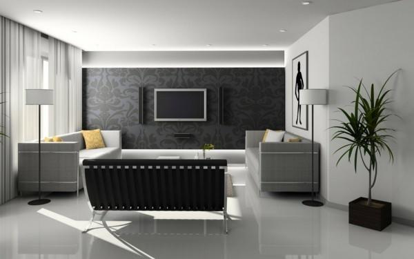 zimmer einrichten stilvolles interieur wohnzimmer graue möbelstücke