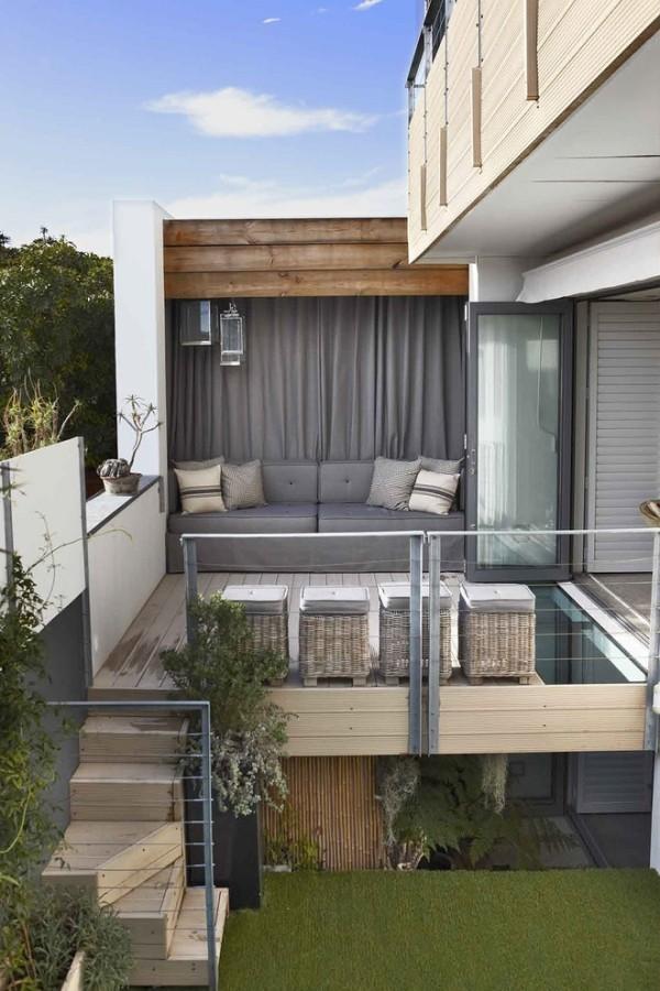 zimmer einrichten terrassenmöbel schicke graue sofas