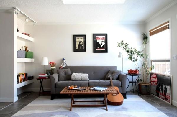 zimmer einrichten wohnzimmer graues wohnzimmersofa heller teppich pflanze