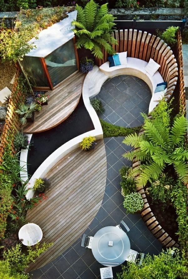 Balkon Garten mit gewölbten formen