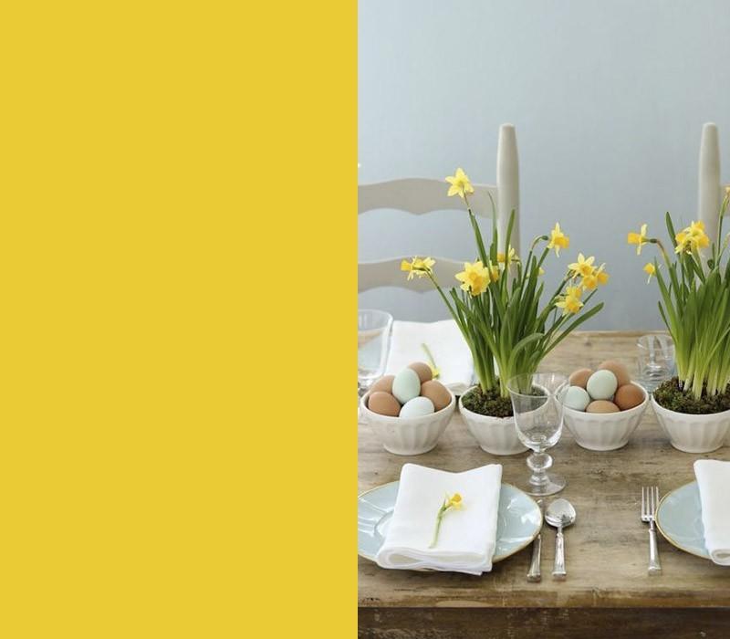 Bedeutung der Farben gelbe Narzissen Festtafel eyecatching