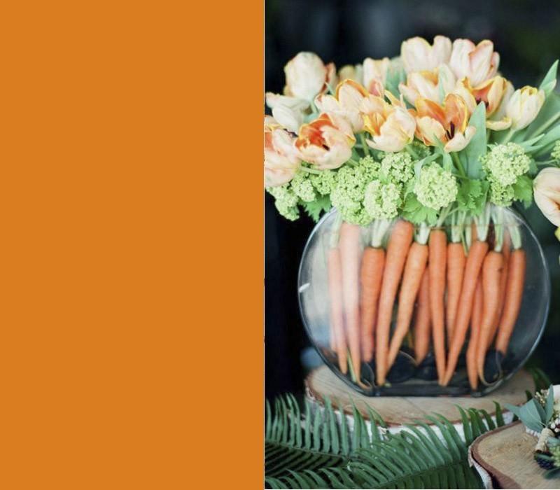 Farben Karotten Tulpen orange Blickfang Ostertisch