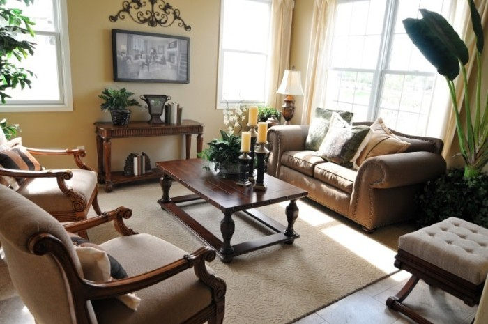 Gemütliches Wohnzimmer viele Grünpflanzen