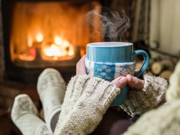 Tipps gegen Winterdepression knisterndes Feuer beobachten wie ein Blumenbeet im Winter