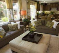Schöne Wohnzimmer in Erdfarben