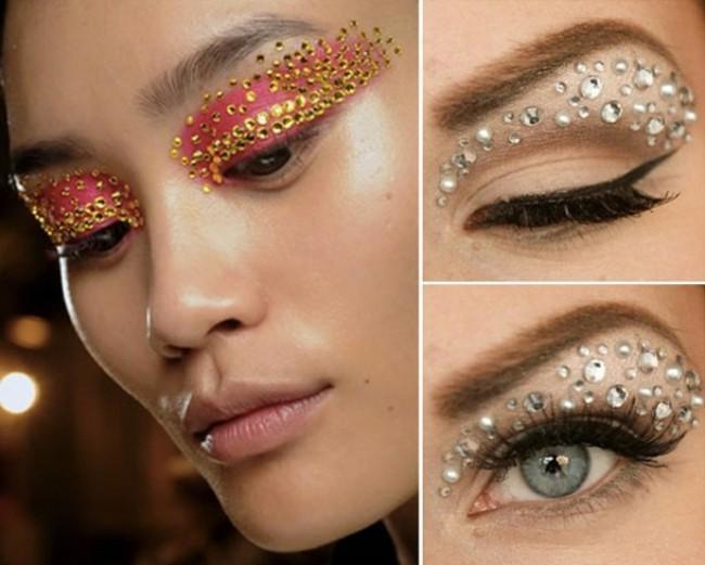 augenlider make up glitzersteine schminken fasching