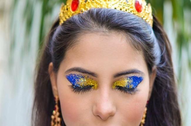 blau gold make up schminken fasching