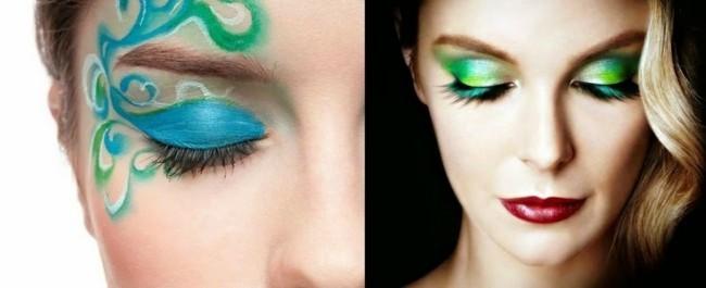 blau grüne lidschatten ideen make up schminken fasching