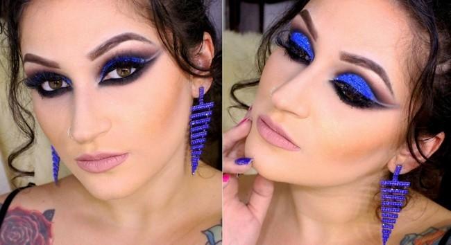 blaue augenlider make up ideen schminken fasching