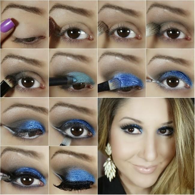 blaues make up ideen schminken fasching karneval