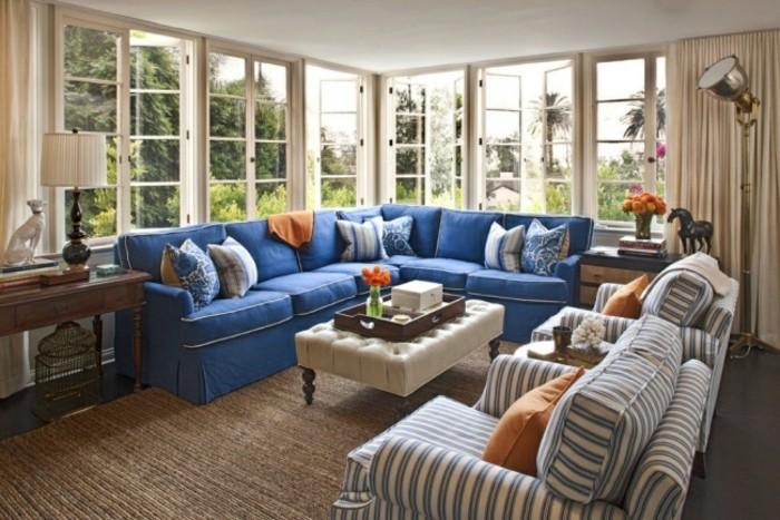 designer sofa blau und groß