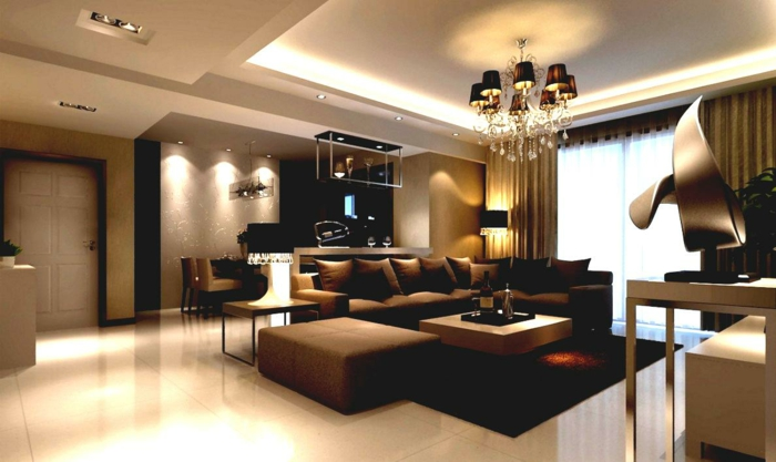 designer sofa dunkelbraun wohnlandschaft