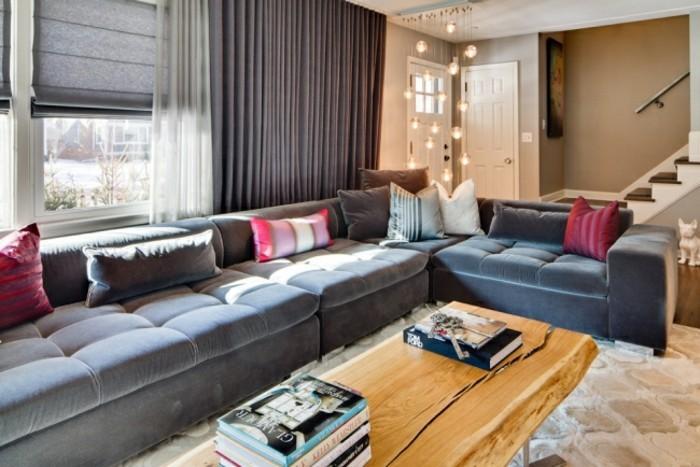 designer sofa grau und dunkelblau