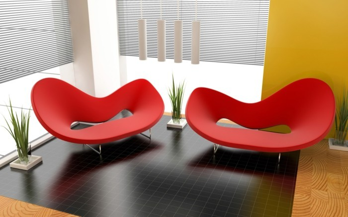 designer sofa grelles rot