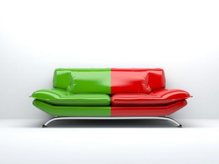 designer sofa in grün und rot