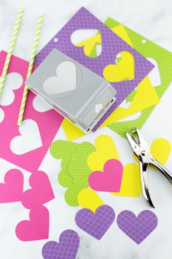 diy ideen deko herzen ausschneiden papier
