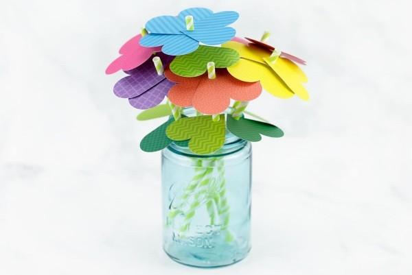 diy ideen deko papierblumen einmachglas