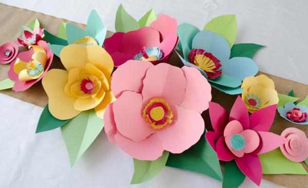diy ideen deko papierblumen selber machen tischdeko