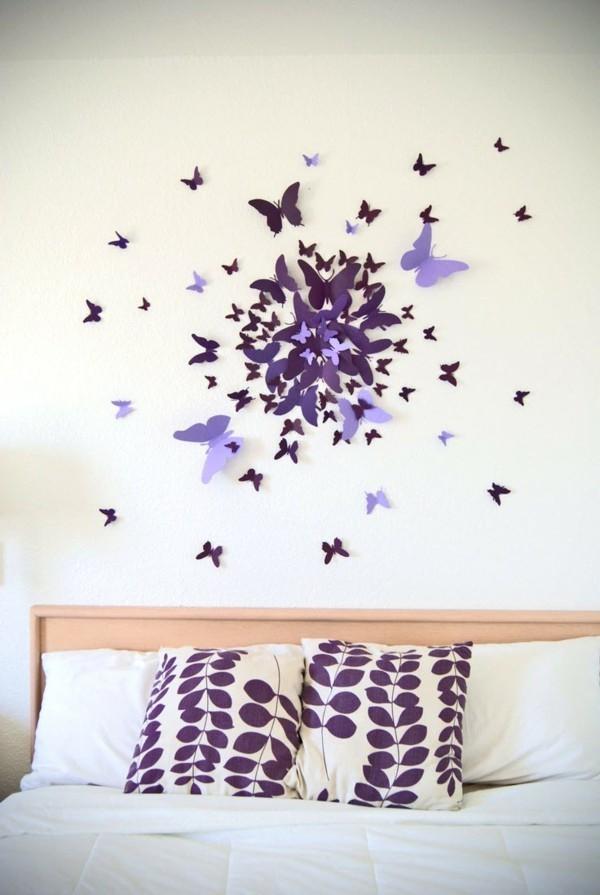 diy ideen deko wanddeko papier schlafzimmer
