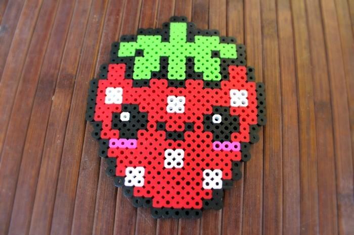 erdbeer basteln mit bügelperlen bastelideen
