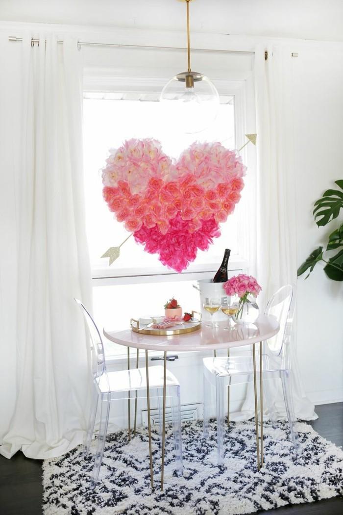 esstisch dekorieren romantisch schlicht valentinstag