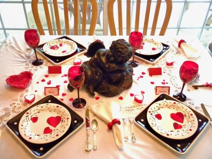 esstisch dekorieren romantisches abendessen valentinstag
