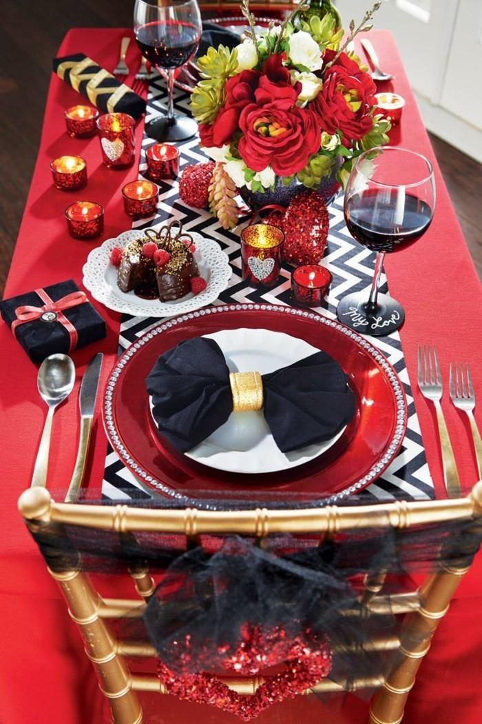 esstisch dekorieren untypische farbkombination schwarze nuancen
