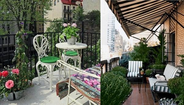 farbige akzente auf einem Balkon Garten