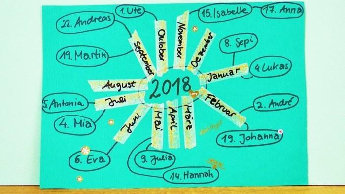 geburtstagskalender basteln kalender diy ideen einfach