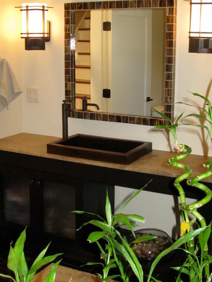 gruene pflanzen badezimmer gestalten bambus