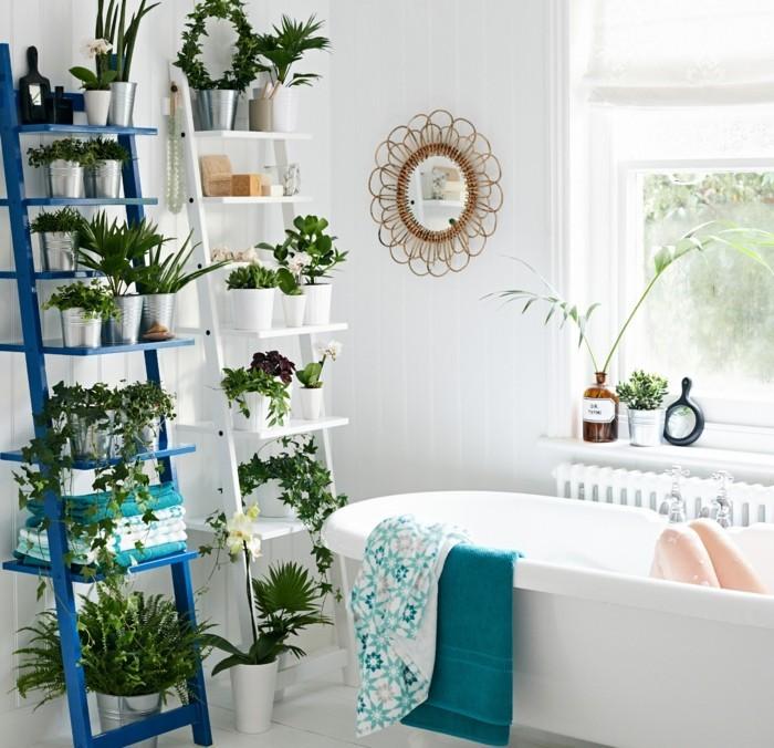 gruene pflanzen badezimmer gestalten etagere