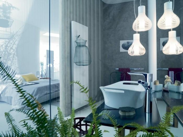 gruene pflanzen badezimmer gestalten glas