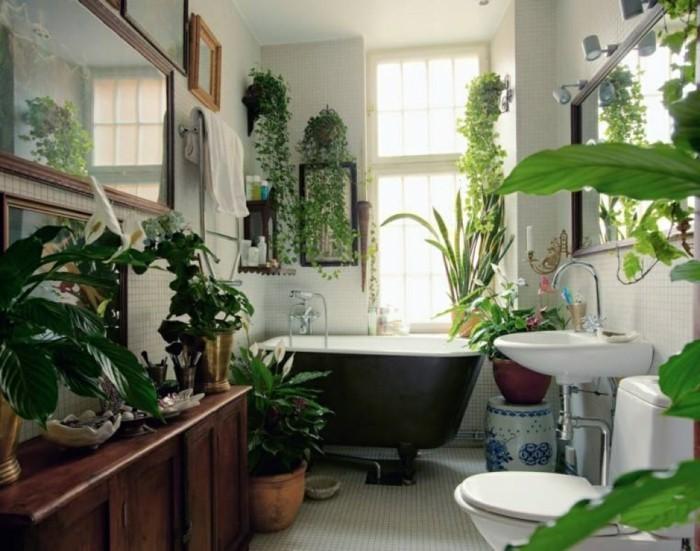 gruene pflanzen badezimmer gestalten gross und hell
