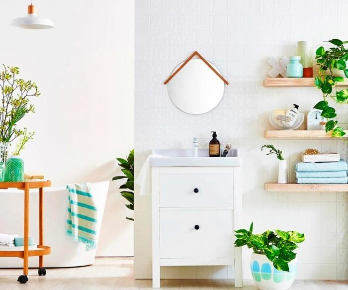 gruene pflanzen badezimmer gestalten hell