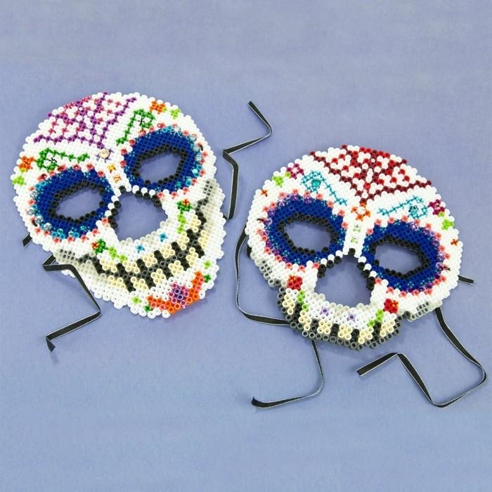 karneval masken selber machen basteln mit bügelperlen