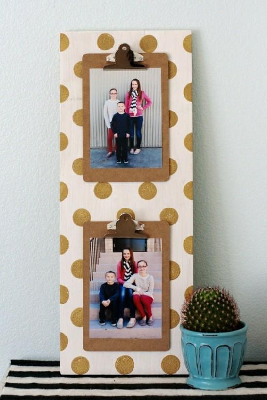 klemmbrett fotos fotorahmen polka dot