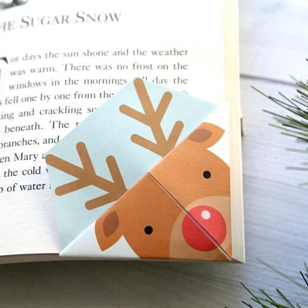 lesezeichen basteln hirsch weihnachten ideen