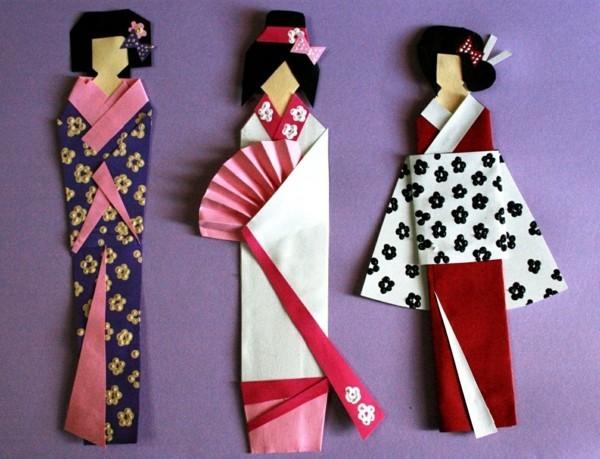 lesezeichen basteln lustige ideen geisha